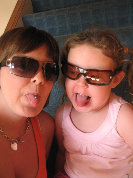 tongues: my daughter gayle with her tongue pierced and wee neice bekky,