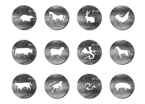 Chinese year zodiac symbols: Animal symbols as metal pendants