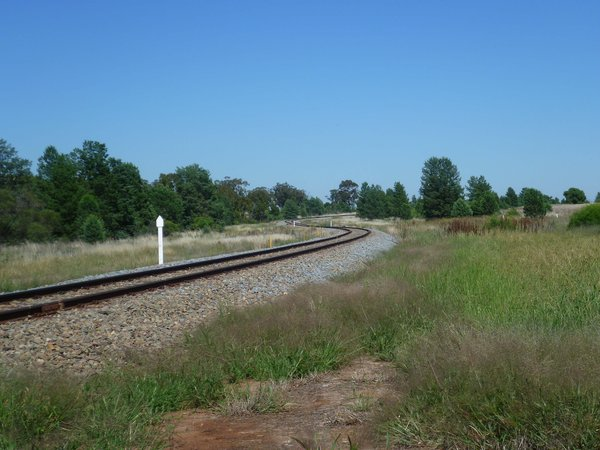transport: a railway line snakes through the country side