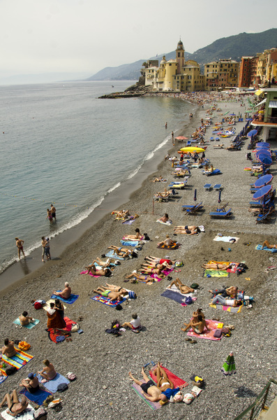Beach view of Camogli: Beach life in Camogli, Italy