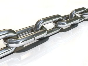 Chain: An abstract picture of a strong, metallic chain on a ceramic background.