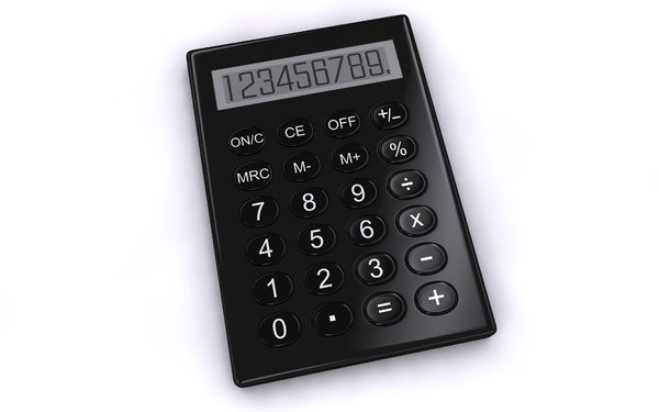 Calculator: An abstract picture of a simple calculator on a whit background. There is a black and a blue version in different angles.