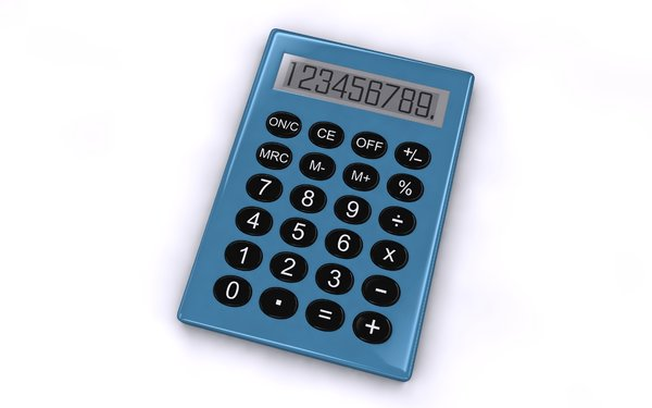 Calculator: An abstract picture of a simple calculator on a white background. There is a black and a blue version in different angles.