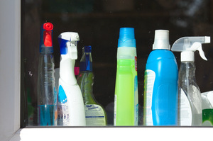 Cleaning products: A range of cleaning products on a window ledge