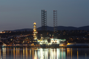 Oil Rig at night: Night/dusk shot of oil rig in dock in Dundee for servicing