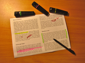 Document editing: A document being edited/proofread.