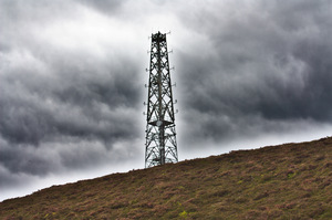 Transmitter tower: Transmitter tower on top of Craigowl Hill near Dundee, part of the UK Air Traffic Control network.