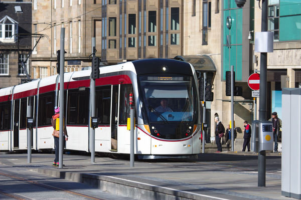 Edinburgh tram: Newly installed trams in Edinburgh, Scotland. Shots were taken before trams were in public service.
