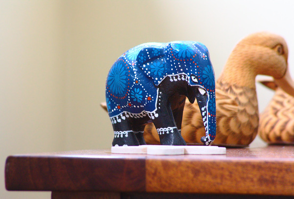 Elephant Ornament: Elephant ornament on a side table
