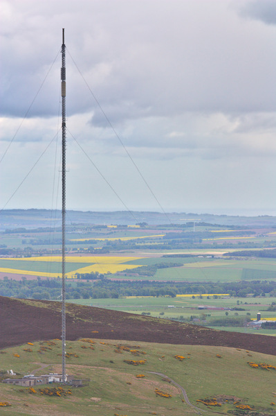 Television transmitter: Television transmitter in hills above Dundee