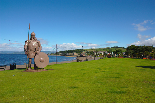 Viking Sculpture: Metal sculpture of a Viking on sea front at Largs, Scotland