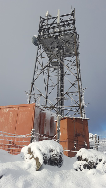 Wintry transmitter mast: Transmitter/communications mast on the top of Mount Blair in the southern Scottish Highlands, in wintry conditions