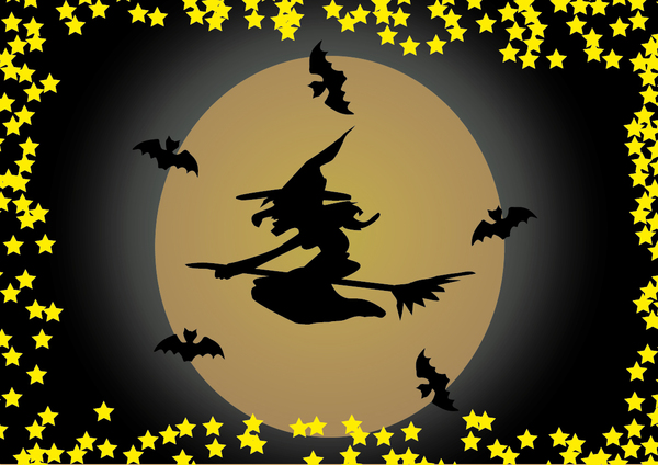 Halloween Scene Witch 5A: Halloween moon and witch scence