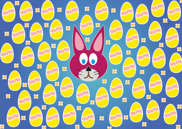 rabbit and eggs 2: rabbit, eggs and flowers