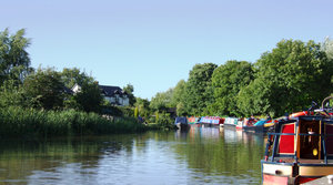 Trent & Mersey Canal: The Trent & Mersey Canal which meets the River Weaver at Anderton Boat Lift in Cheshire, England.