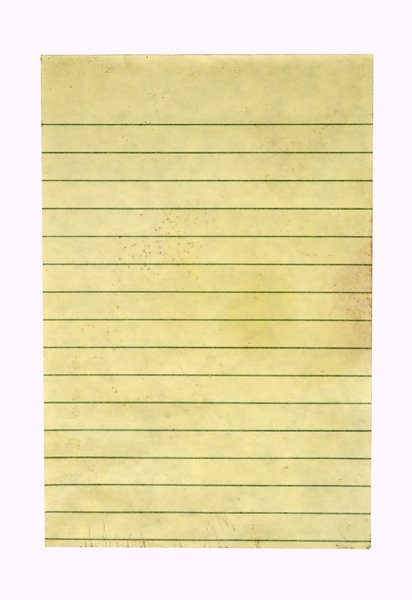 Grungy Note Paper: The top sheet of a yellow stickie pad, 4 x 6 inches.