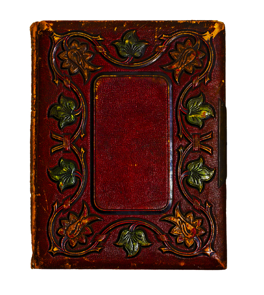 Leather Book Cover: The embossed leather cover of an old book that is quite possibly a hundred years old