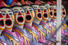 Funfair ball clowns: Funfair ball game with target in mouths of clowns heads at annual Murwillumbah show in Australia.