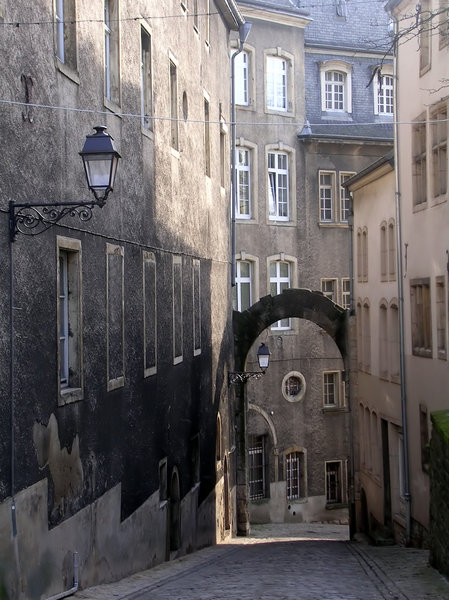 Luxembourg Street 1: A narrow cobbled street in Luxembourg.