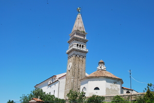 Stone Chuch on the Hill: Piran, small mediterian city with Church on the top of the Hill