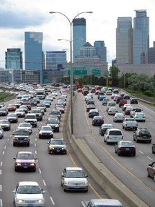 heavy traffic: heavy traffic on interstate 94 east of minneapolis.