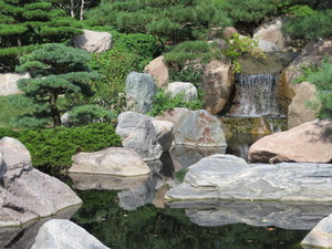 japanese garden: rocks, trees, water