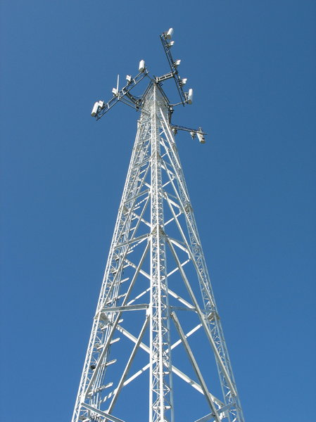 cellular tower: a cellular telephone tower.