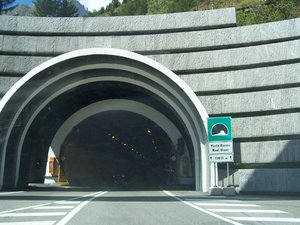 MONT BLANC TUNNEL: The Italian entrance of the Mont Blanc tunnel