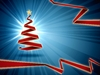 Blue Christmas Background: Blue christmas background with red origami christmas tree
