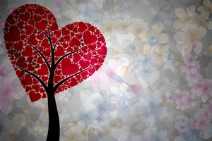 Tree of Love: Tree consisting of hearts on the flowery background