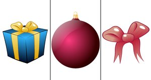 Christmas items: Gift, crystal ball and bow on a white backround