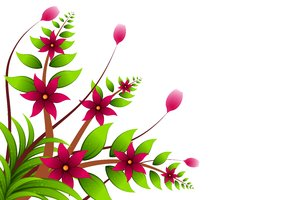 Jungle Floral: Pink flowers on the branches and leaves. Whole on a white background.