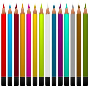Crayons: Colored pencils on a white background