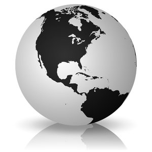 Simple Earth 2: Simple Earth on a white background - North America and South America