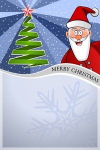 Christmas Poster 03: Christmas blue Poster with Santa Claus and christmas tree