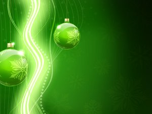 Green Christmas Background: Christmas bauble on a green background