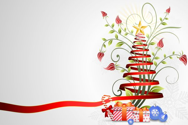 Floral-Ribbon Christmas Tree: Christmas tree created with red ribbons and floral
