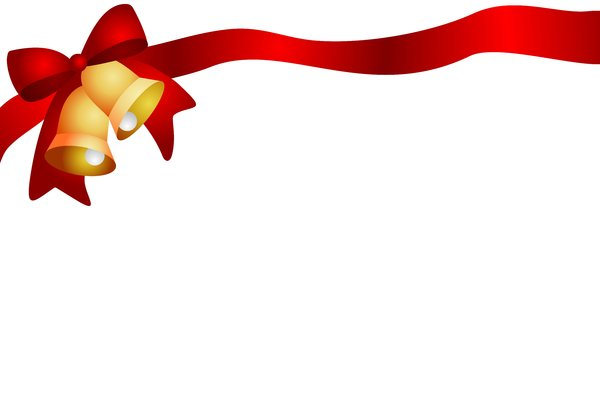 Christmas Ribbon: Christmas red ribbon and bells on the white background