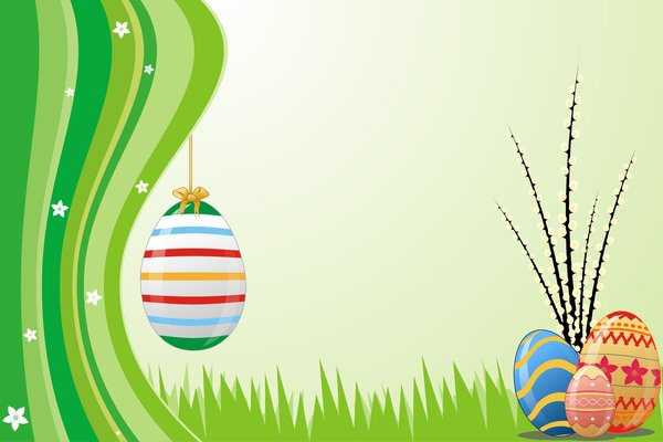 Spring Dream 4: Spring green wallpaper with elements such as Easter eggs, flowers, notes and treble clef