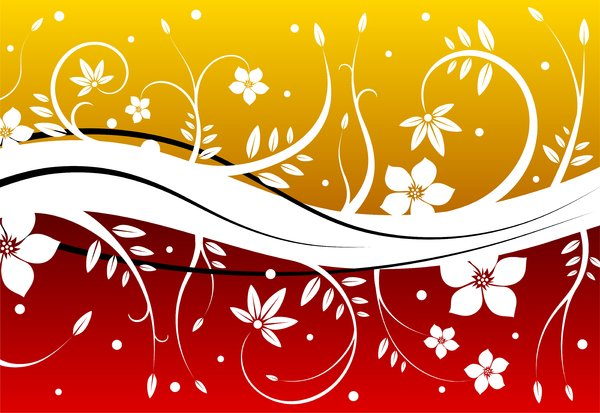 Snowy Flowers 3: Background with white flowers and leafs stylized on the snow