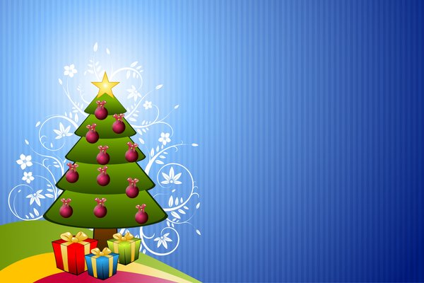 Floral Christmas Tree: Christmas tree with a floral motif on a blue background