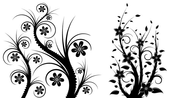 Isolated B&W Floral Set 2: Package of black and white isolated objects (florals), containing  flowers, trees, leaves, etc.