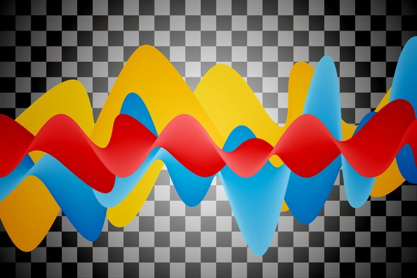 Abstract Waves 2: Colorful waves on a gray background or a background in the checkerboard