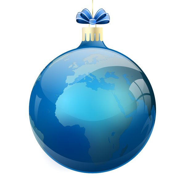 Christmas Elements - Bauble 2: Christmas planet-bauble on the white background