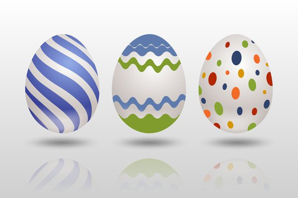 Easter Eggs 1: Easter eggs on the silver background