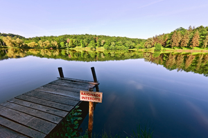 Jetty on a French lake: Picture was taken near Hautefort, France during summer.