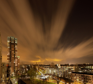 Cityscape at night: Picture was taken in Rotterdam centre.