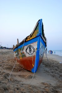 indian fishing boat: indian fishing boat on chennai beach