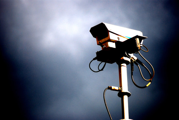 harsh camera: cctv camera watching your every move like an oppressive robot eye