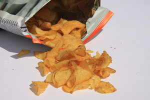 Potato chips: Open bag of chips